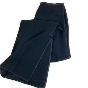 Lafayette 148 Black Flare Trousers Braided Trim